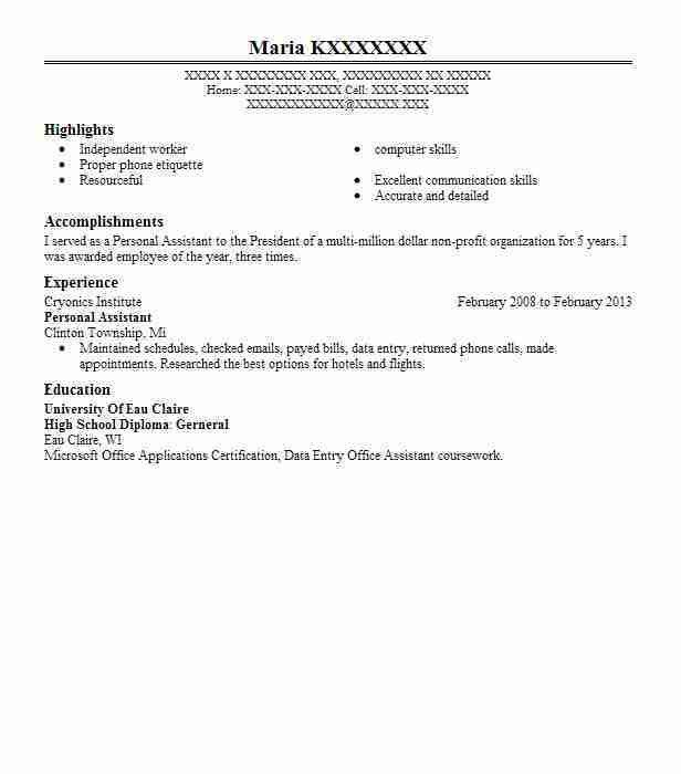 Best Personal Assistant Resume Example | LiveCareer