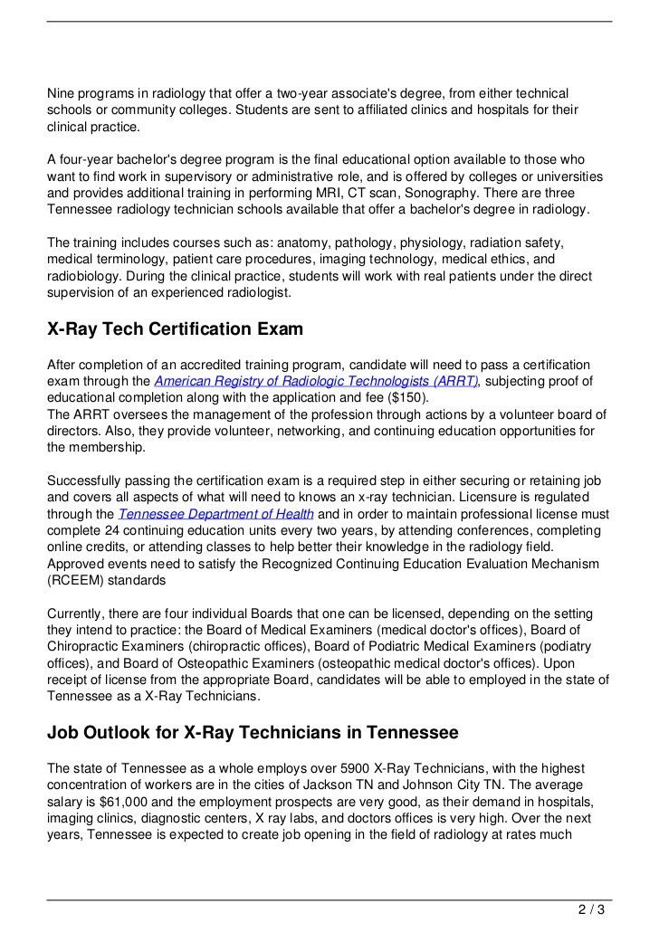 X-Ray Technician Schools in Tennessee