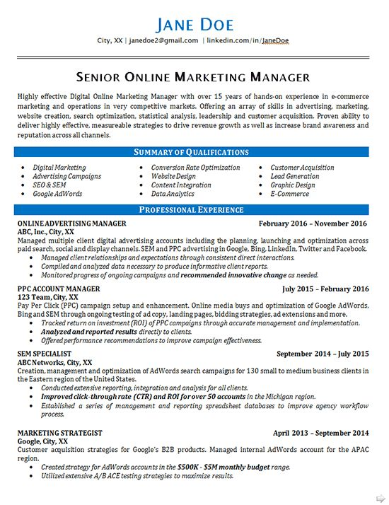Online Marketing Resume Example - SEO - Advertising