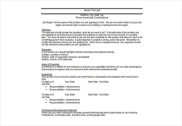 chrological resume targeted resume. customer service supervisor ...