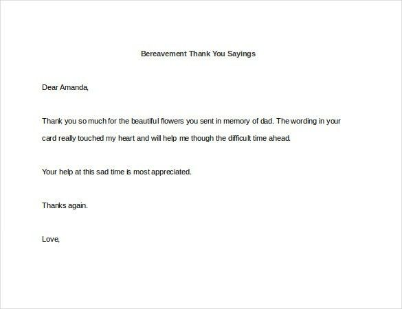 Bereavement Thank You Note – 8+ Free Word, Excel, PDF Format ...