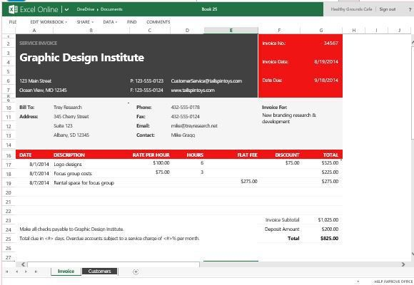 Free Service Invoice Template For Excel