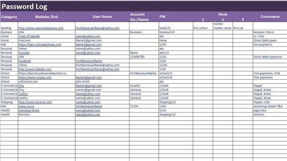 Password Log Excel and PDF Template Password Tracker
