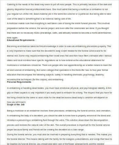 Mortician Job Description Sample - 5+ Examples in Word, PDF
