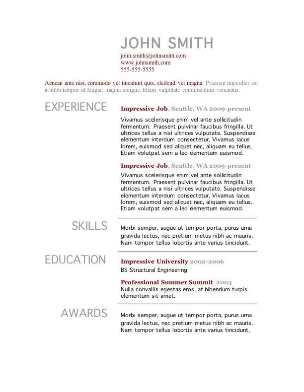 Single Page Resume Template. Free Professional Online One Page ...