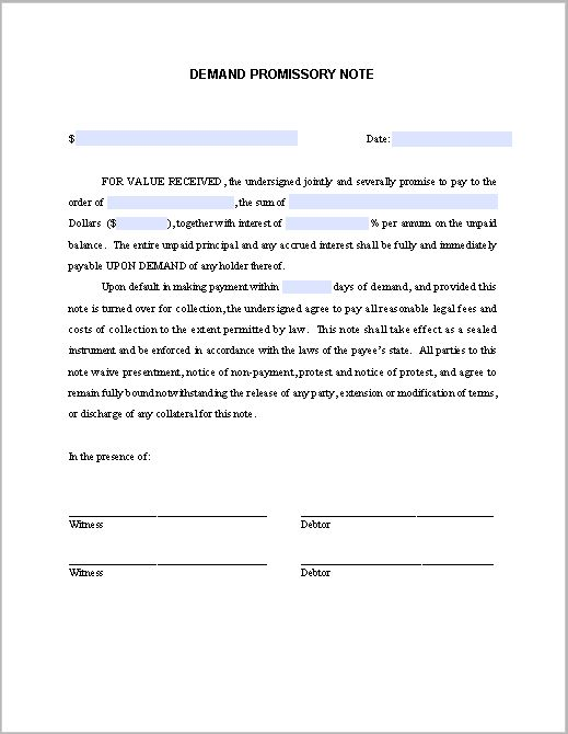 Demand Promissory Note | Free Fillable PDF Forms