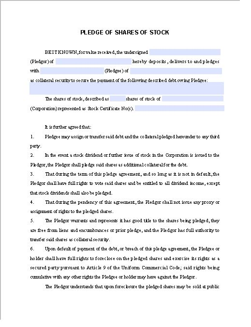 Pledge Contract Template for Share of Stock | Free Fillable PDF Forms