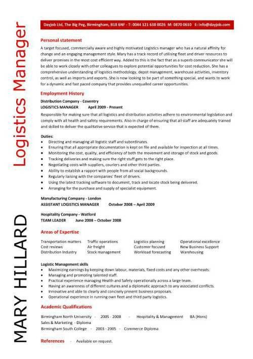 Logistics Specialist Job Description. Logistics Manager Sample ...