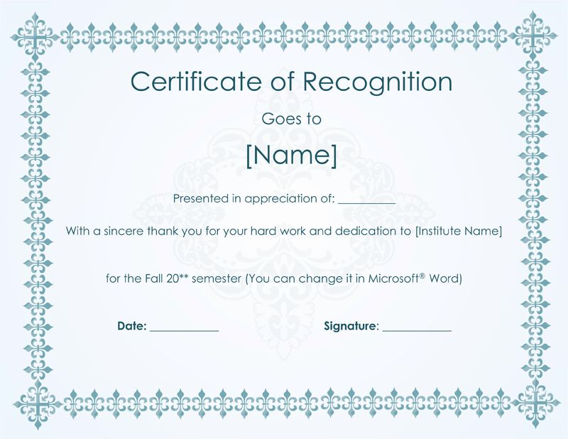 7 March Certificates of Recognition   Certificate Templates