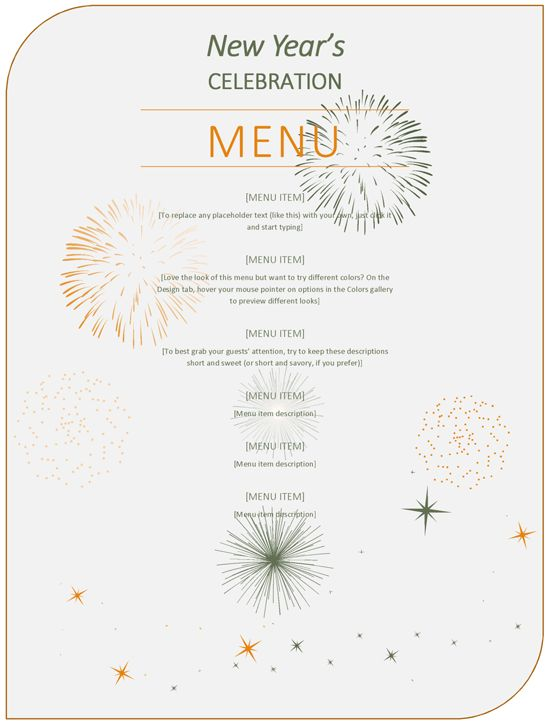New Year Party Menu Template | Excel & Word Templates