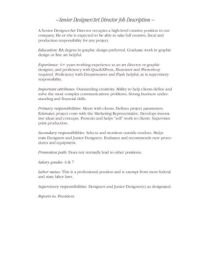 Senior Designer/Art Director Job Description - Hashdoc