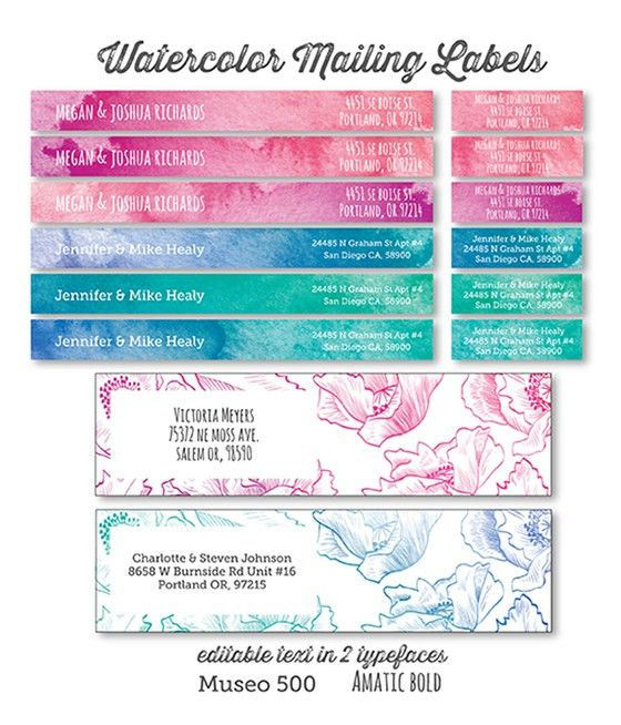 Printable Watercolor and Floral Address Labels - Lia Griffith