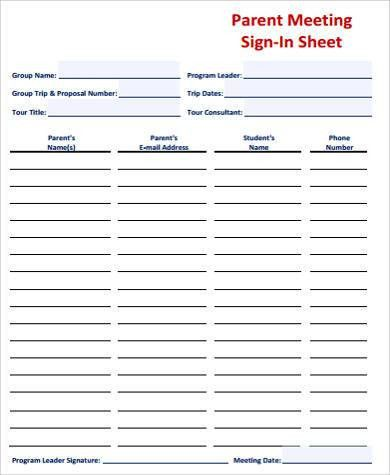 meeting sign in sheet examples
