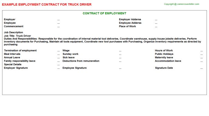 Truck Driver Employment Contracts