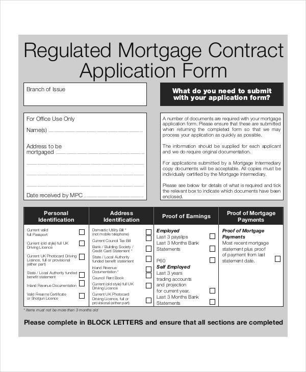 10+ Sample Mortgage Application Form - Free Sample, Example Format ...