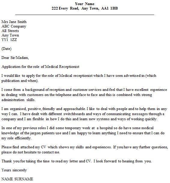 Cover Letter for Medical Receptionist - forums.learnist.org