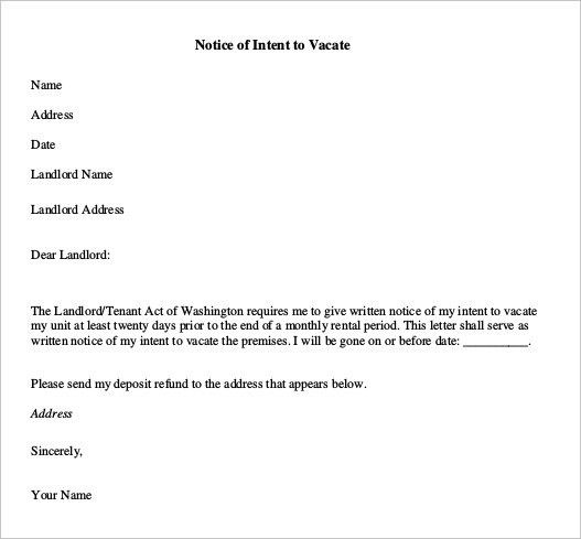 Notice To Vacate -15+ Free Samples, Examples, Format Download ...