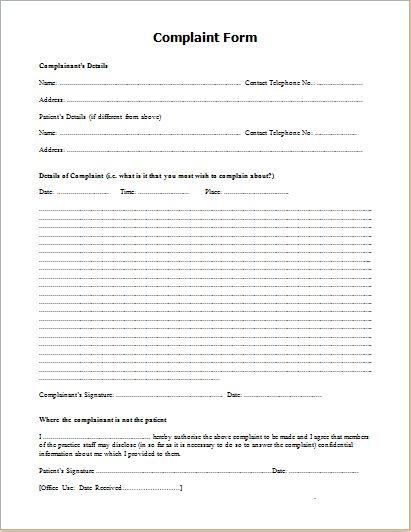 Patient complaint form | for work | Pinterest