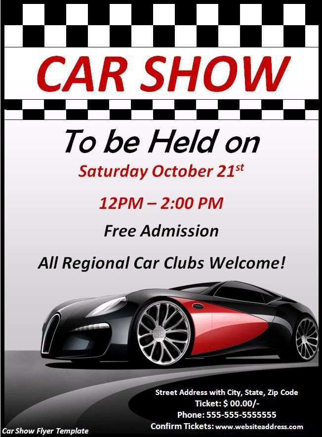 Car Show Flyer Template - Word Excel PDF