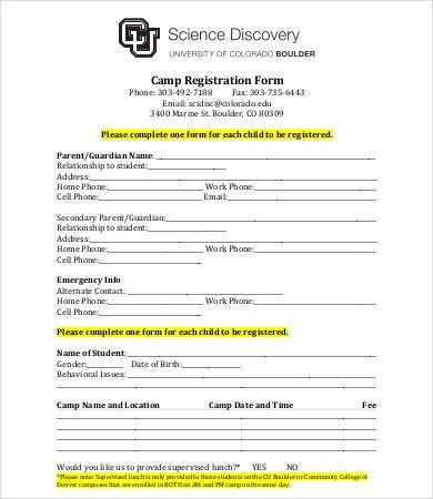 10+ Printable Registration Form Templates - Free Sample, Exmaple ...