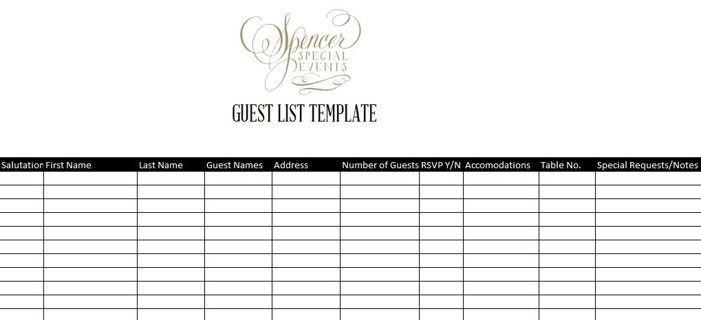 Guest List Templates | free to do list