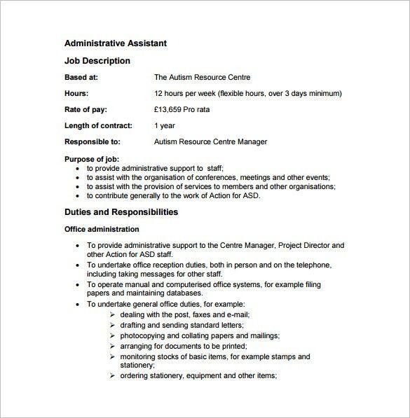 Administrative Assistant Job Description Template – 9+ Free Word ...