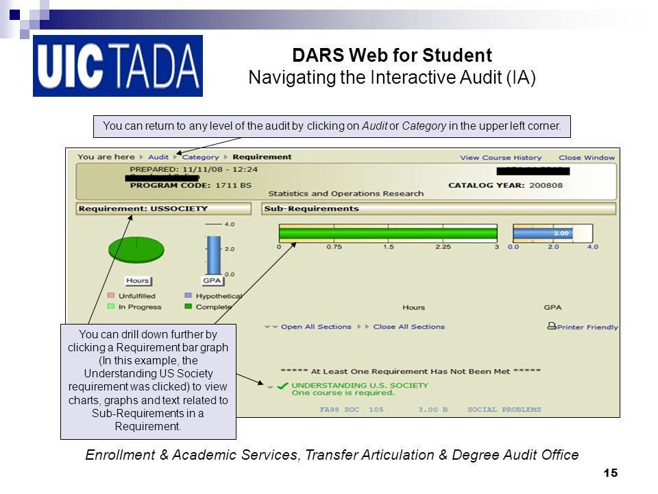 DARS Web for Student Academic and Enrollment Services, Transfer ...