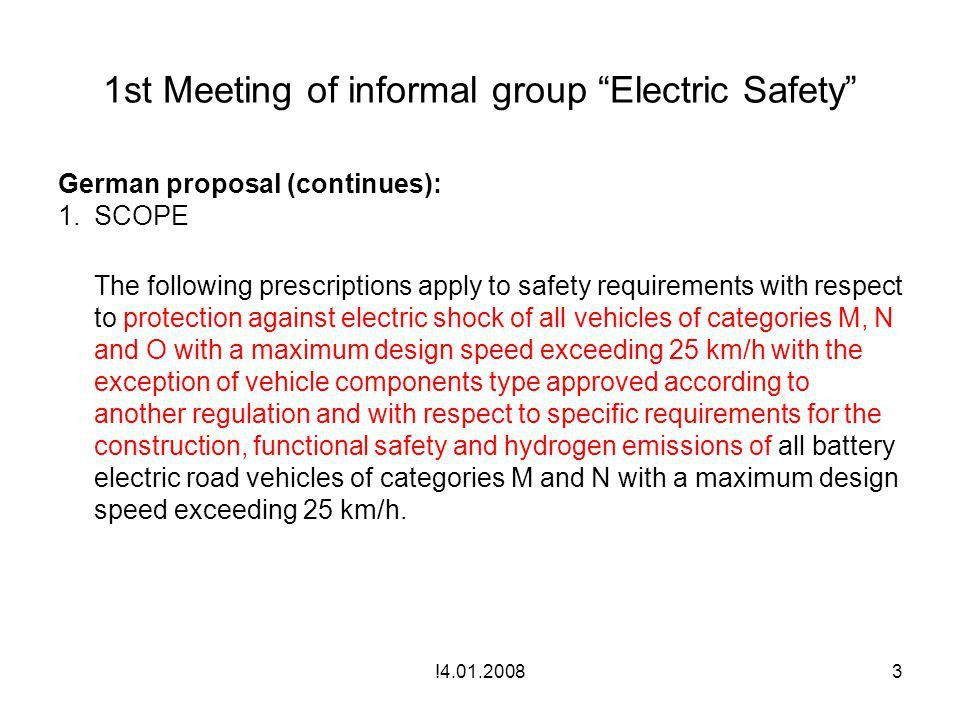 """1st Meeting of informal group """"Electric Safety"""" Amendment of ECE ..."""