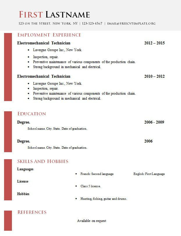 Cv Format In Word File Download | Create professional resumes ...
