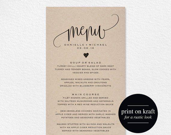 Rustic Wedding Menu, Wedding Menu Template, Menu Cards, Menu ...