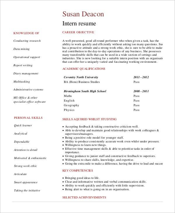 Sample Internship Resume - 7+ Examples in Word, PDF