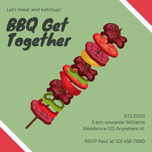 Green and Red Barbeque Get Together Invitation - Templates by Canva