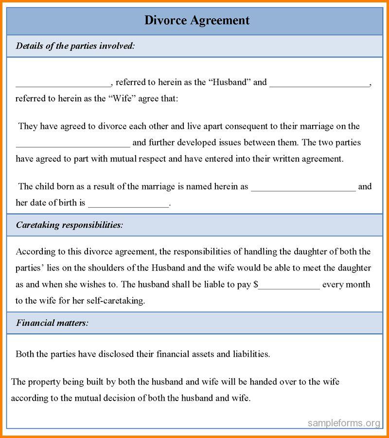 11+ divorce settlement agreement | Letter Template Word