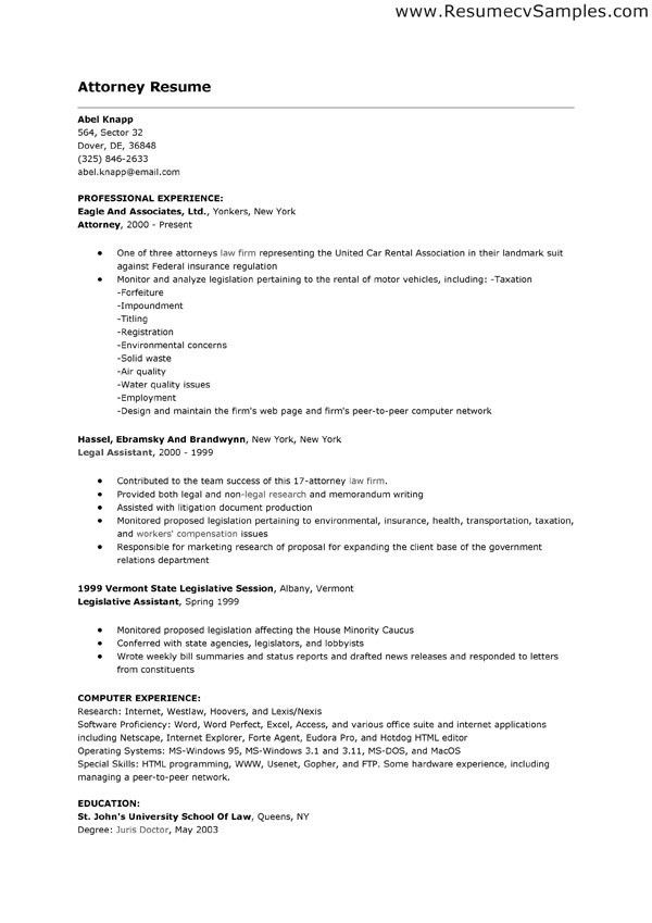 sample resume attorney resume cv cover letter. sample lawyer ...
