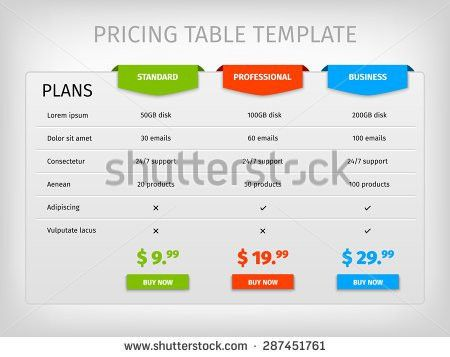 Price Chart Template. Html Responsive Pricing Table Template Can ...