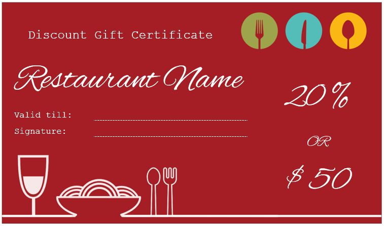 Restaurant Gift Certificate Template for Discount