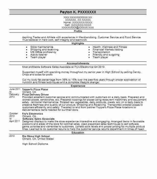 pizza delivery driver resume