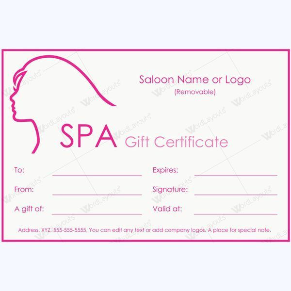 12 best Spa and Saloon Gift Certificate Templates images on ...