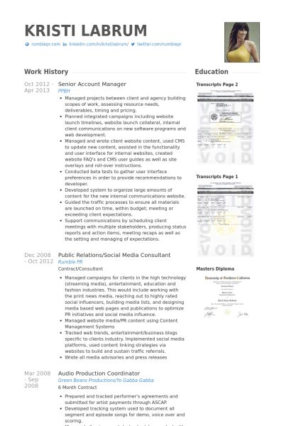 Account Manager Resume samples - VisualCV resume samples database