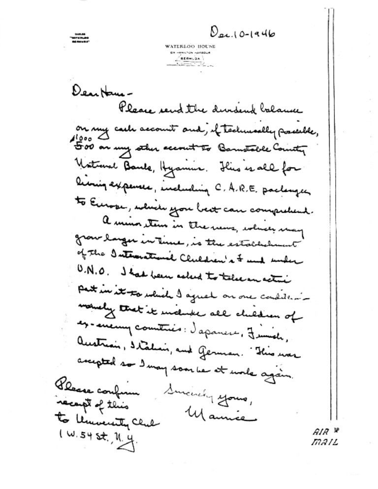 A letter from Maurice Pate, UNICEF's first Executive Director ...