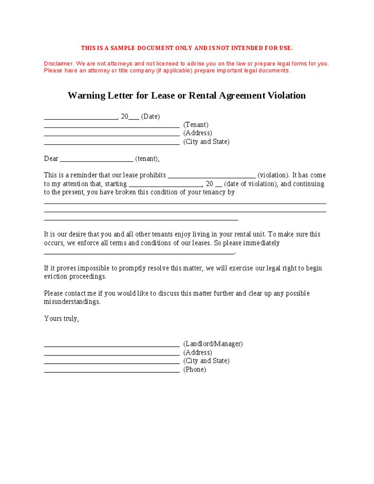 Generic Warning Letter for Lease or Rent - Hashdoc