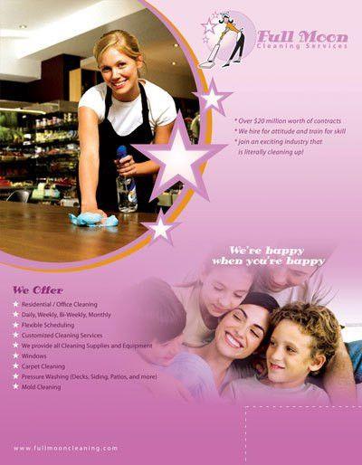 Free cleaning brochures, flyers, gift cards and door hangers