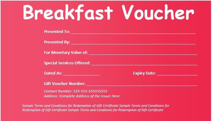 8 Free Sample Breakfast Voucher Templates – Printable Samples