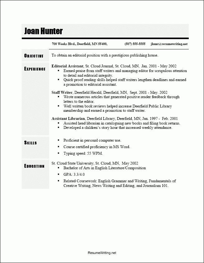 Reverse Chronological Resume Sample