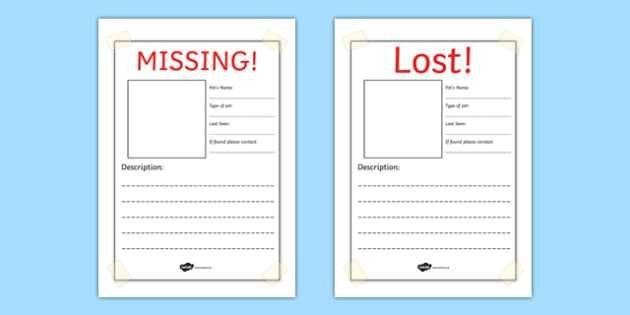 Missing! Lost Pet Writing Frames - missing pet, lost pet