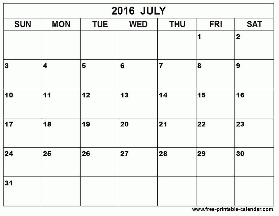 July 2016 Calendar Template Printable   July Calendar Printable ...