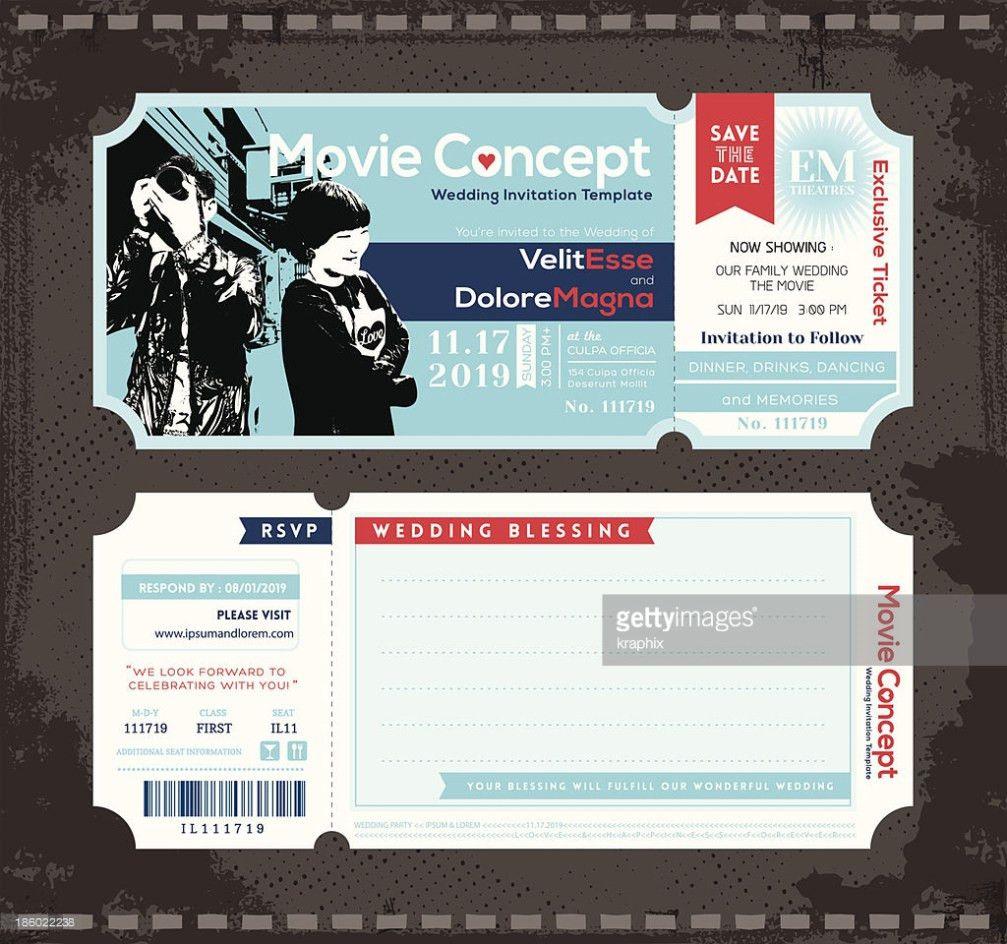 Ticket Wedding Invitation Design Template Vector Art | Thinkstock