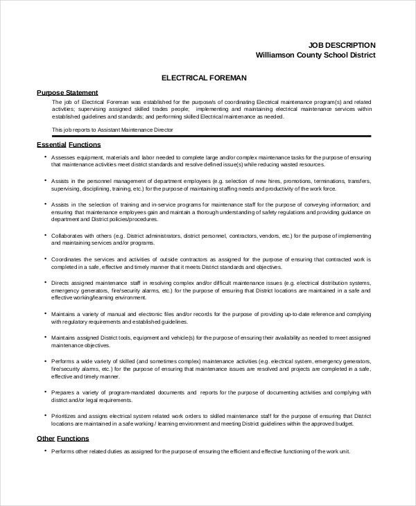 Electrician Job Description - 9+ Free PDF, Word Dowload Documents ...