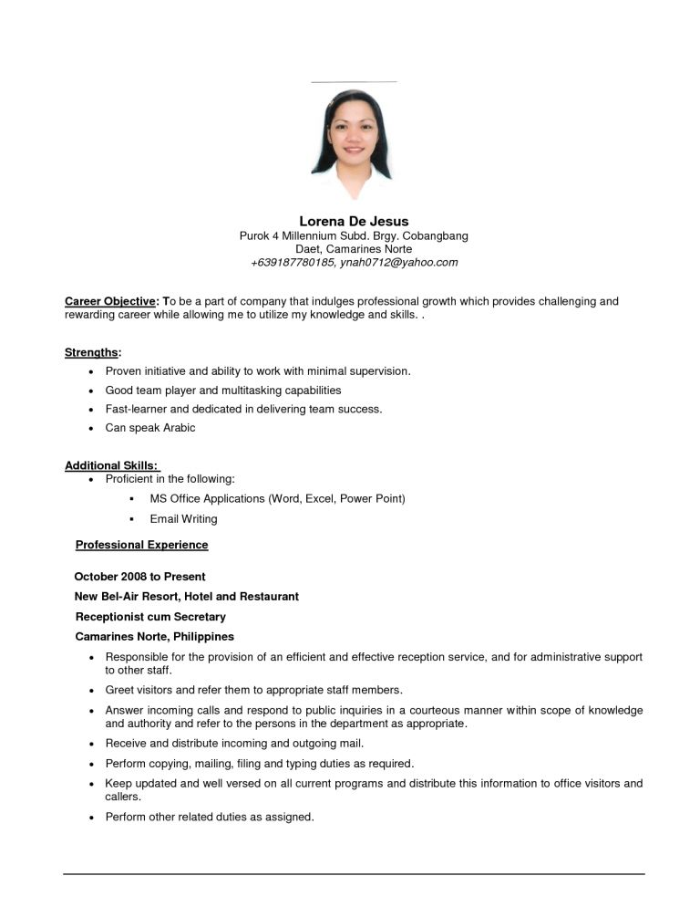 Resume Objective For Any Job | berathen.Com