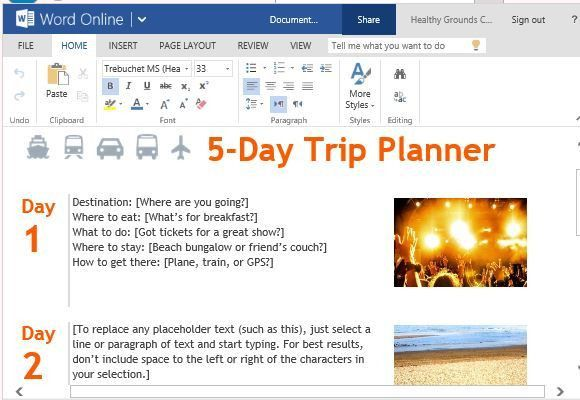 Free Trip Planner Template for Microsoft Word Online